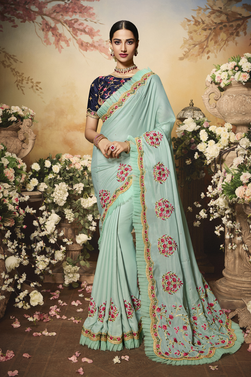 Light Cyan Color Satin Fabric Festive Wear Saree