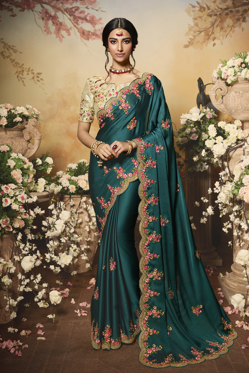Festive Special Teal Color Traditional Saree In Chiffon And Satin Fabric