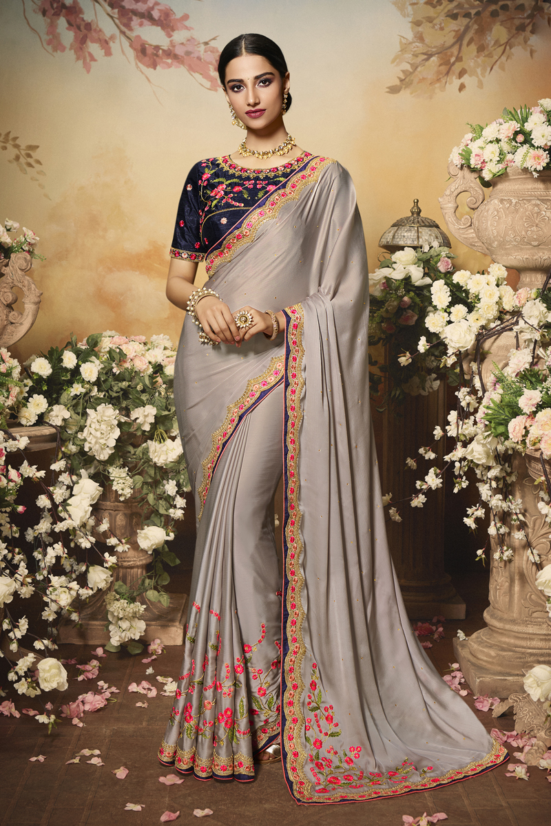 Dark Beige Color Chiffon And Satin Fabric Festive Wear Saree