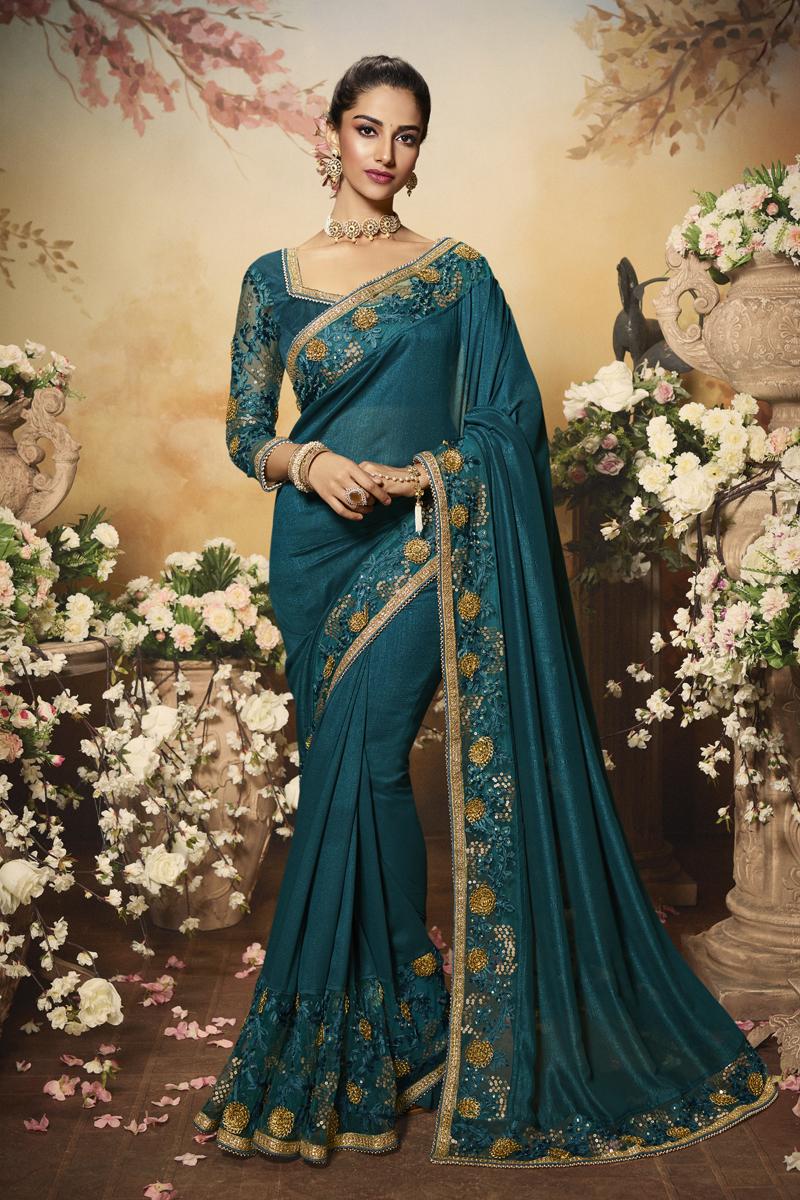 Teal Color Art Silk Fabric Party Wear Designer Saree