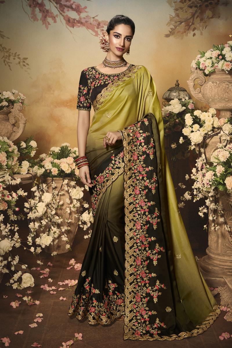 Mustard Color Art Silk Fabric Party Wear Saree