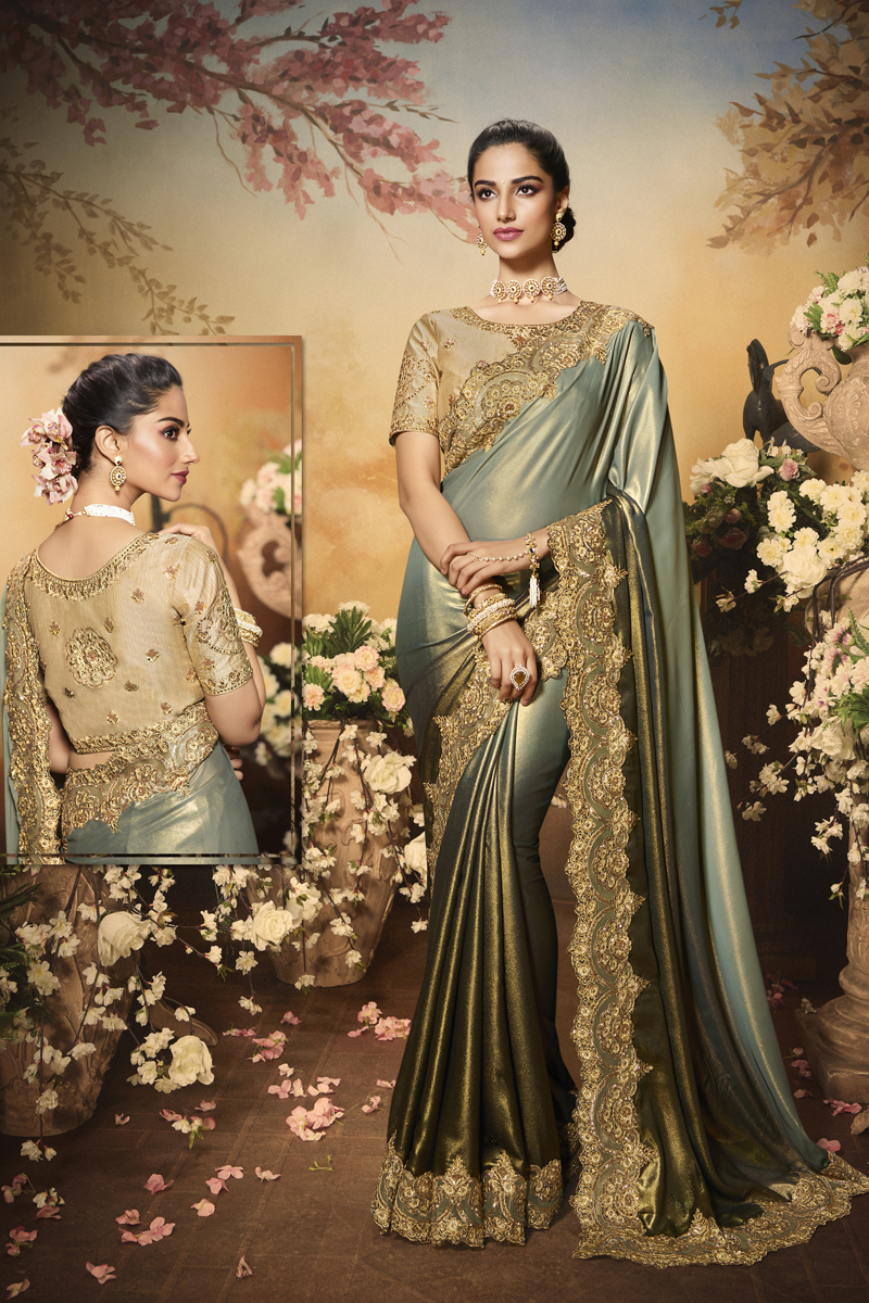 Festive Special Grey Color Traditional Saree In Fancy Fabric