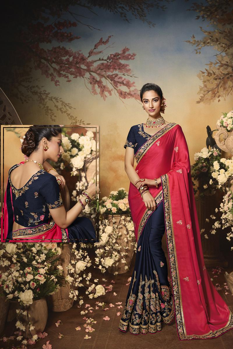 Satin Fabric Pink And Navy Blue Color Designer Saree