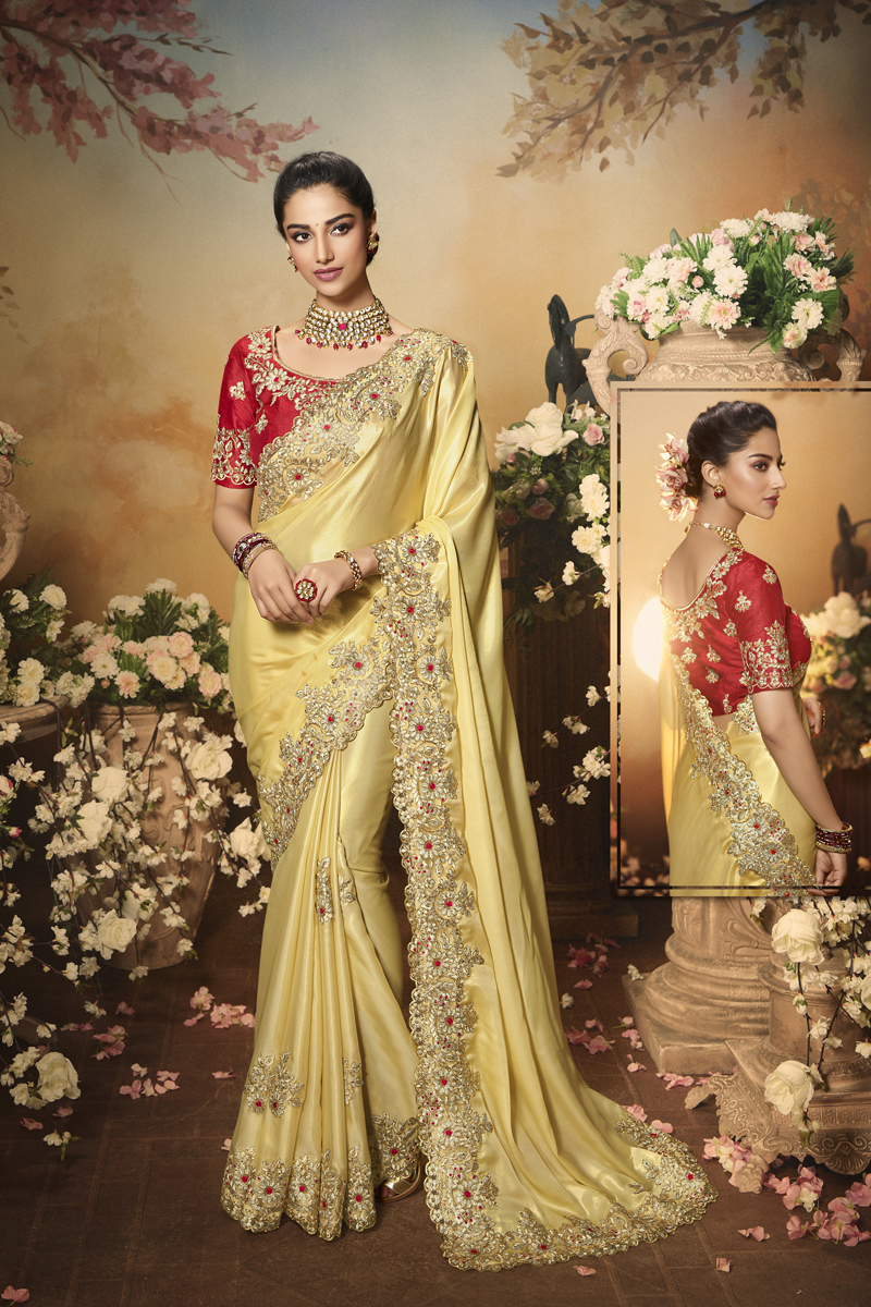 Festive Special Satin Fabric Designer Saree In Beige Color