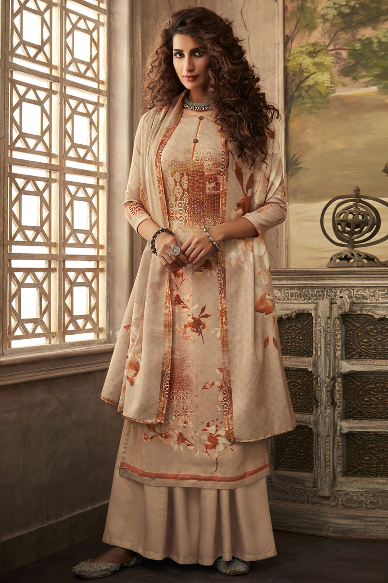 Printed Peach Color Fancy Fabric Palazzo Salwar Suit