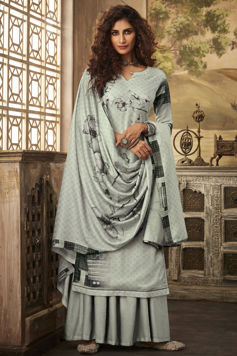 Fancy Fabric Grey Color Palazzo Suit