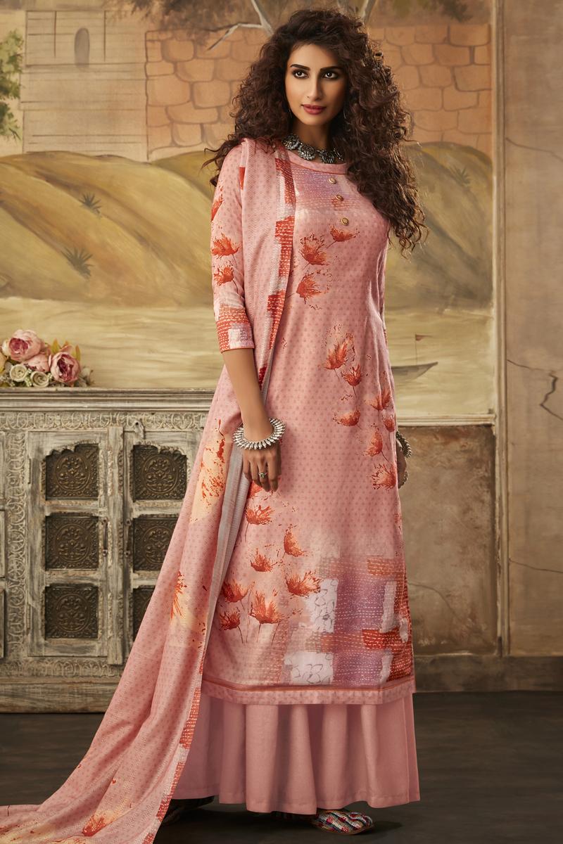 Pink Color Printed Fancy Fabric Casual Wear Palazzo Salwar Kameez