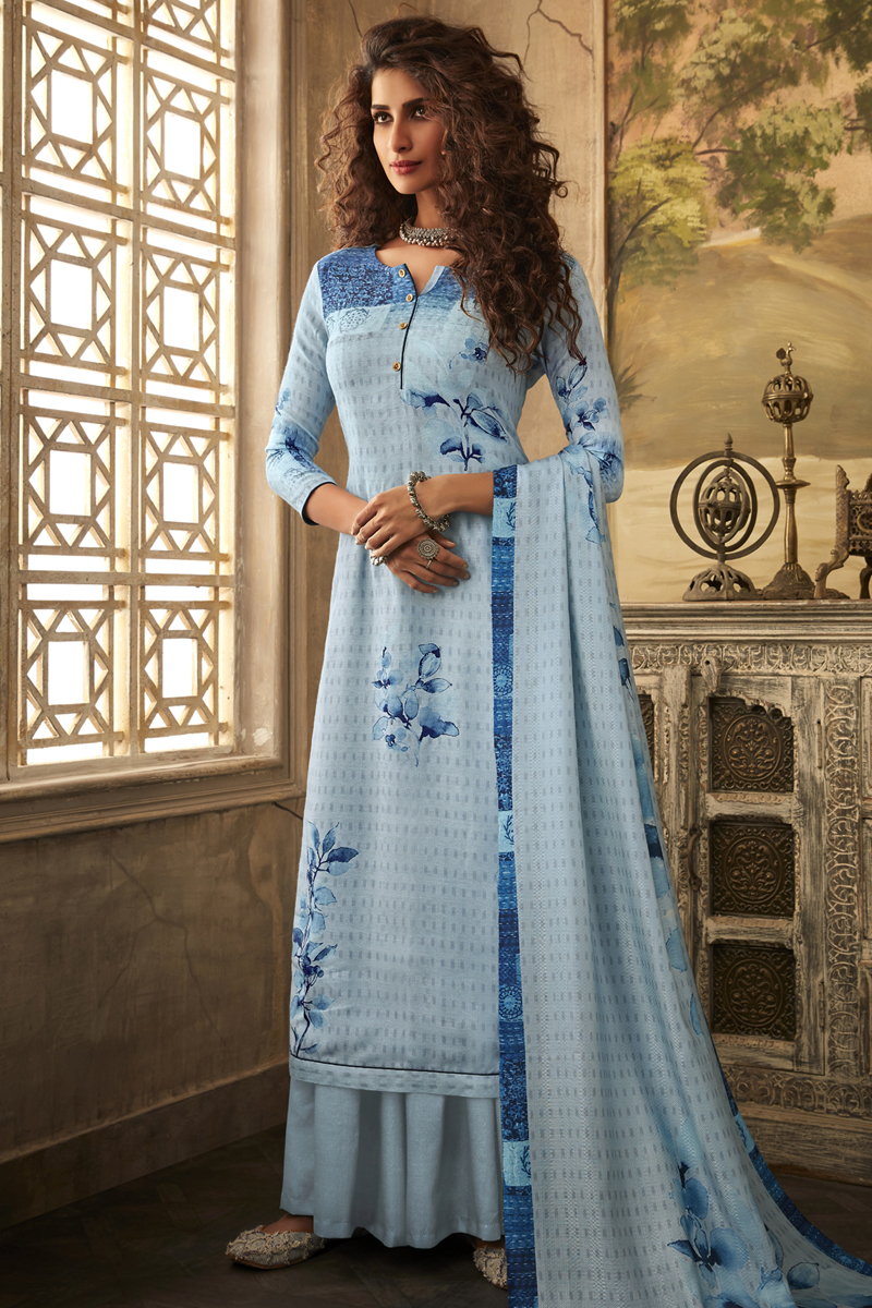Printed Designs Sky Blue Color Fancy Fabric Daily Wear Palazzo Salwar Suit