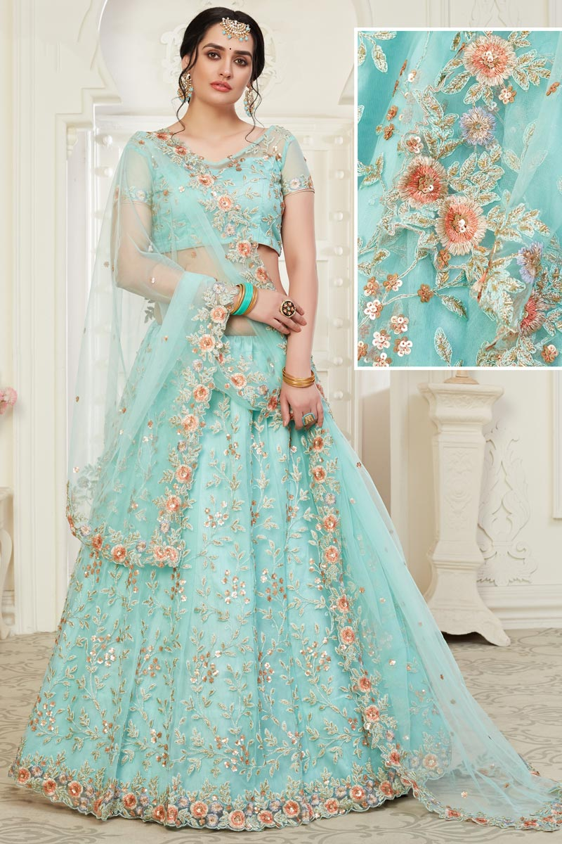 Net Fabric Sangeet Wear Cyan Color Embroidery Work Lehenga Choli