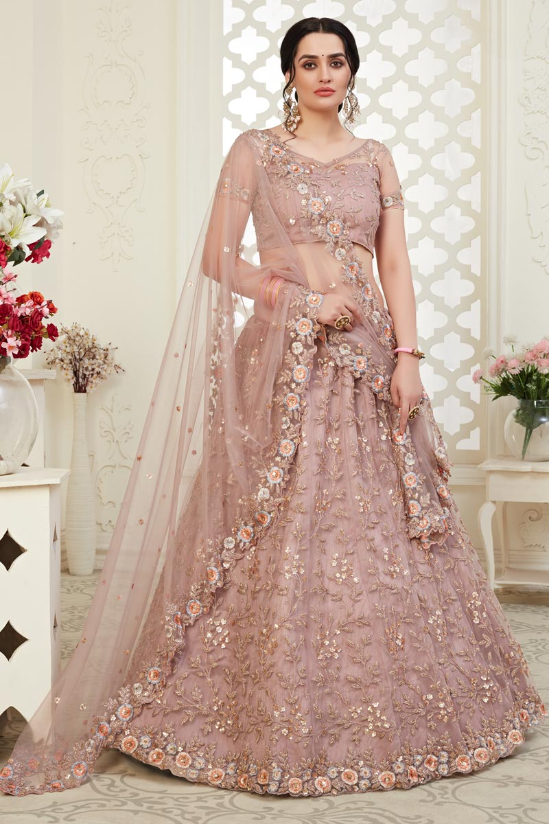 Sangeet Wear Pink Color Embroidery Work Net Fabric Lehenga Choli