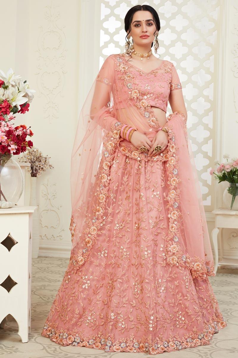 Peach Color Sangeet Wear Embroidery Work Net Fabric Lehenga