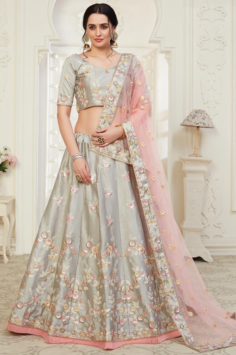 Sangeet Wear Art Silk Fabric Grey Color Embroidery Work Lehenga Choli