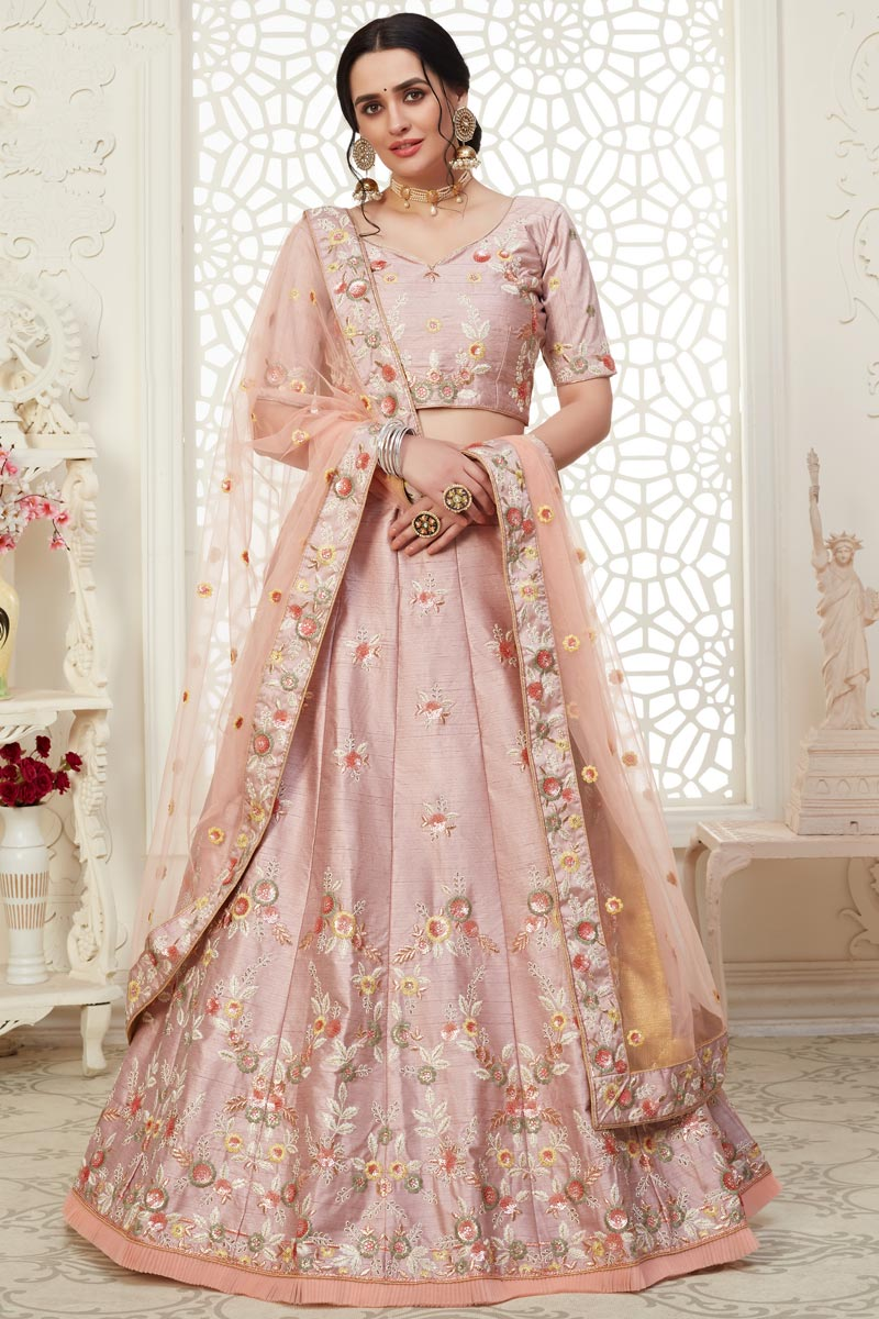 Pink Color Sangeet Wear Embroidery Work Lehenga In Art Silk Fabric