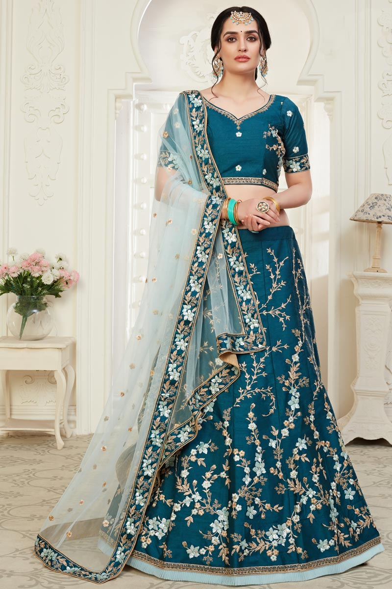 Teal Color Embroidery Work Art Silk Fabric Wedding Wear Lehenga Choli