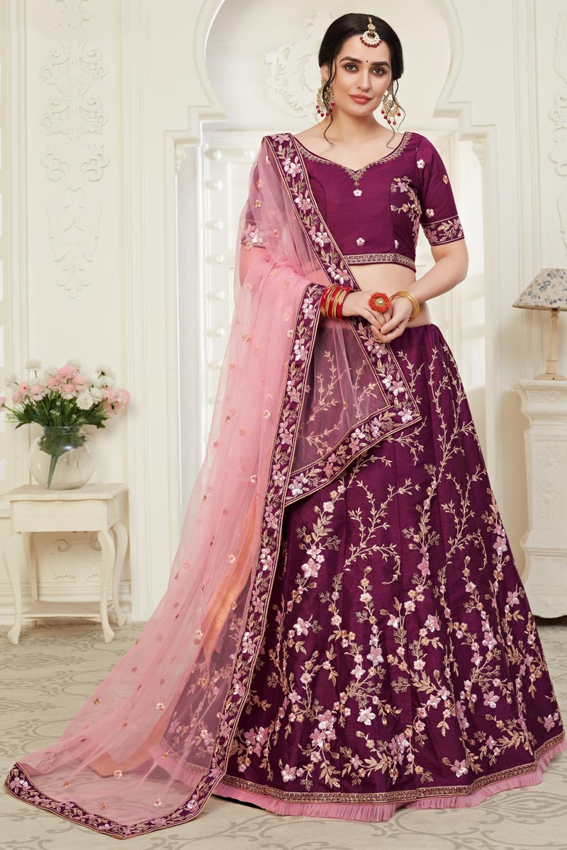 Purple Color Art Silk Fabric Embroidery Work Reception Wear Lehenga