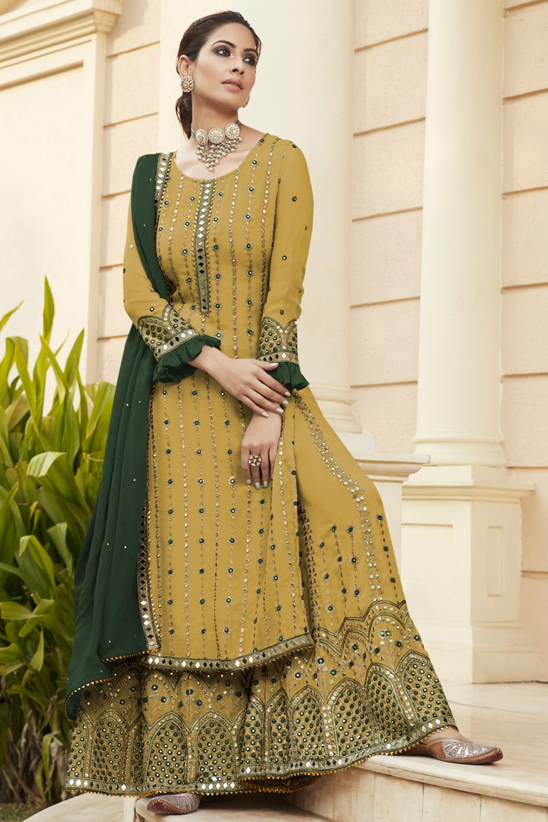 Georgette Fabric Party Style Yellow Color Embroidered Palazzo Suit