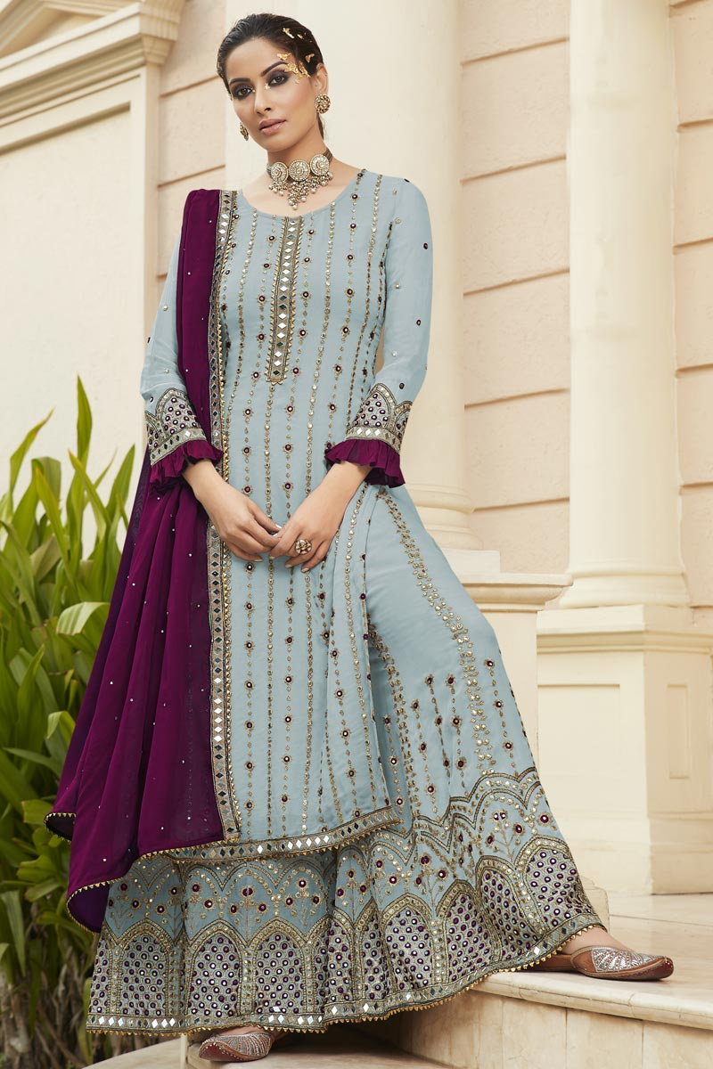 Light Cyan Color Georgette Fabric Party Style Embroidered Palazzo Dress