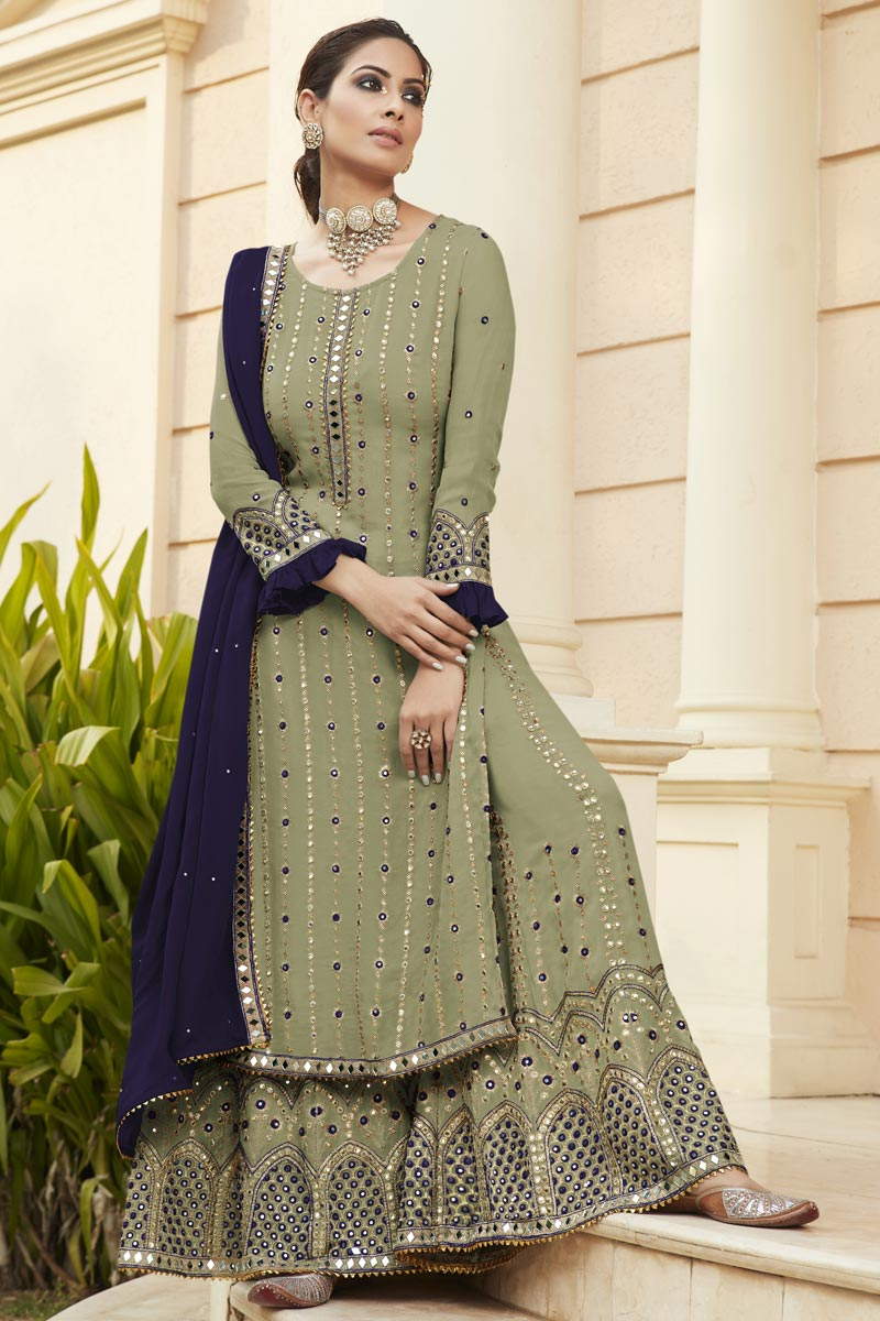 Georgette Fabric Party Style Embroidered Palazzo Dress In Khaki Color