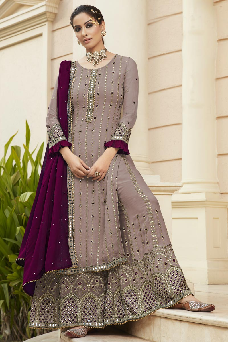 Party Style Georgette Fabric Lavender Color Embroidered Palazzo Suit