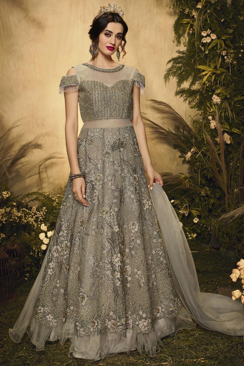 Cream Color Wedding Wear Embroidered Net Fabric Anarkali Salwar Suit