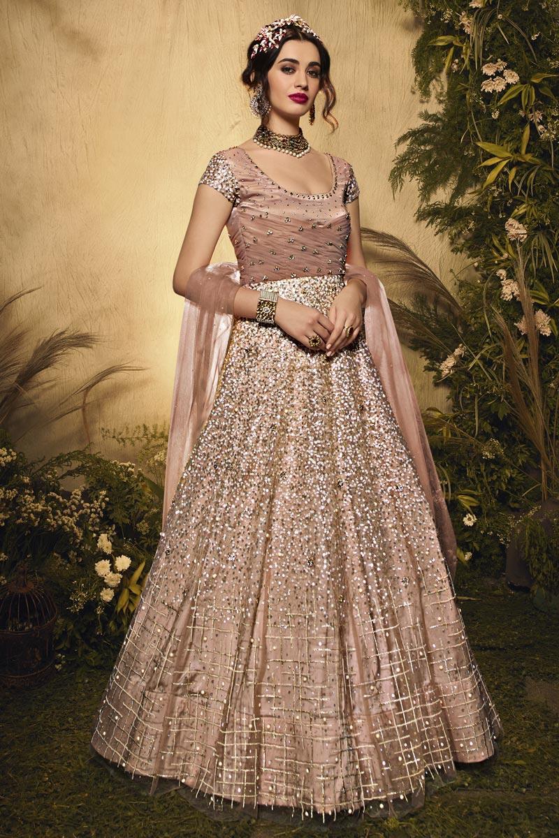 Peach Color Wedding Wear Embroidered Net Fabric Anarkali Salwar Kameez