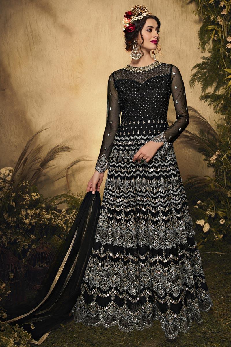 Net Fabric Wedding Wear Black Color Embroidered Anarkali Salwar Suit