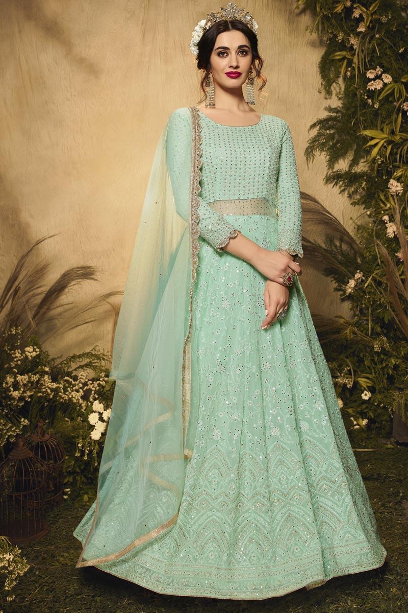 Sea Green Color Georgette Fabric Wedding Wear Embroidered Anarkali Salwar Kameez