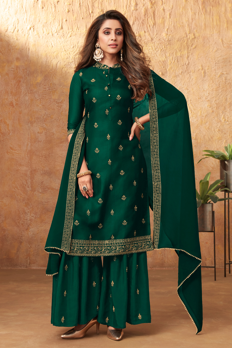 Dark Green Color Party Style Embroidered Art Silk Fabric Palazzo Suit