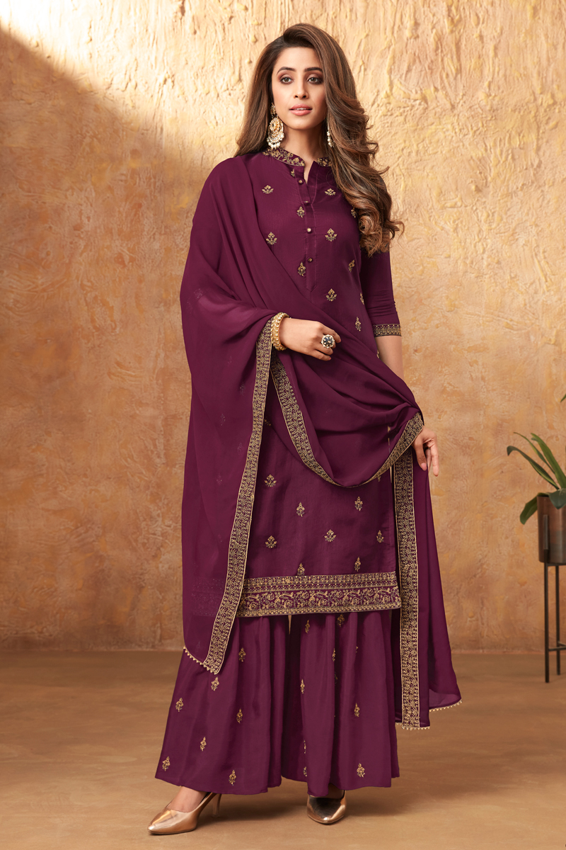 Purple Color Party Style Embroidered Art Silk Fabric Palazzo Dress