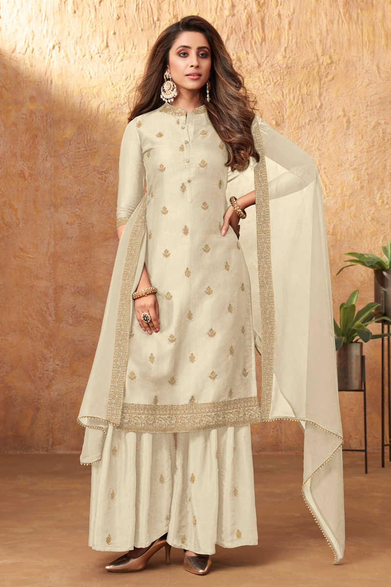 Art Silk Fabric Party Style Beige Color Embroidered Palazzo Suit