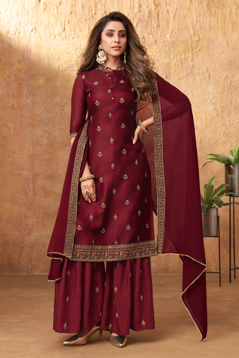 Art Silk Fabric Party Style Embroidered Palazzo Dress In Maroon Color