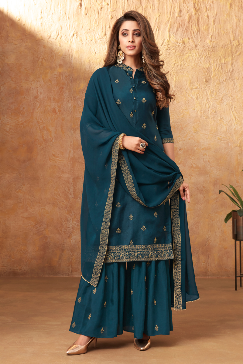 Party Style Art Silk Fabric Teal Color Embroidered Palazzo Suit