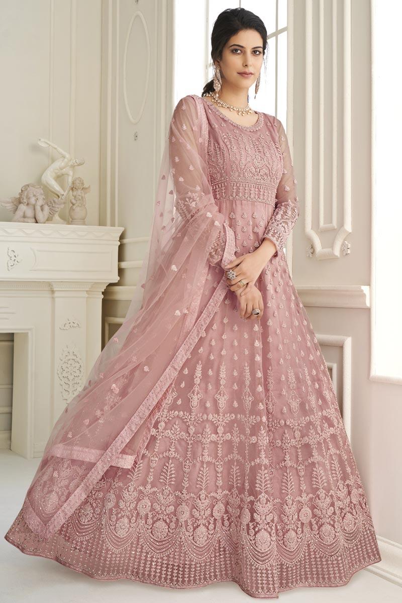 Pink Color Festive Wear Fancy Embroidered Net Fabric Anarkali Salwar Suit