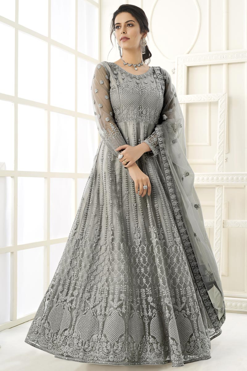 Georgette Fabric Party Wear Anarkali Salwar Suit In Grey Color With Embroidery Work