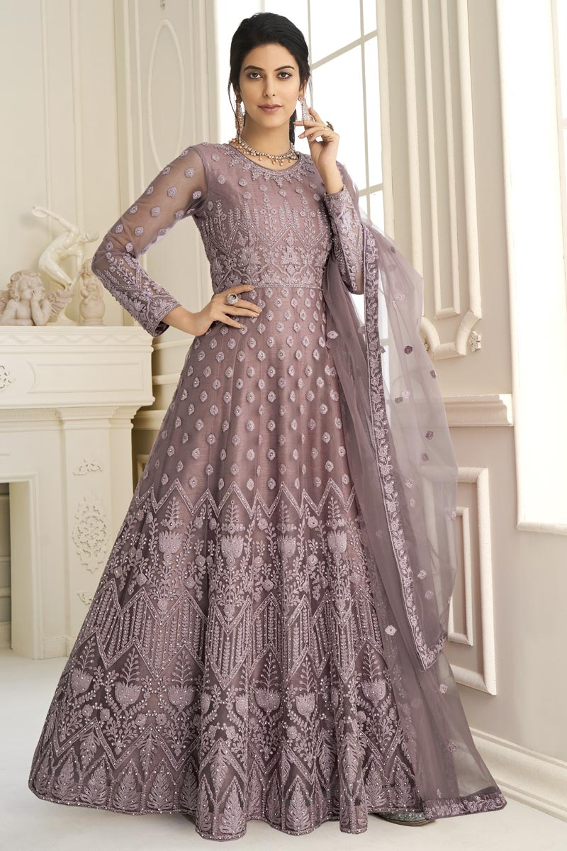Net Fabric Party Wear Lavender Color Designer Embroidered Anarkali Suit