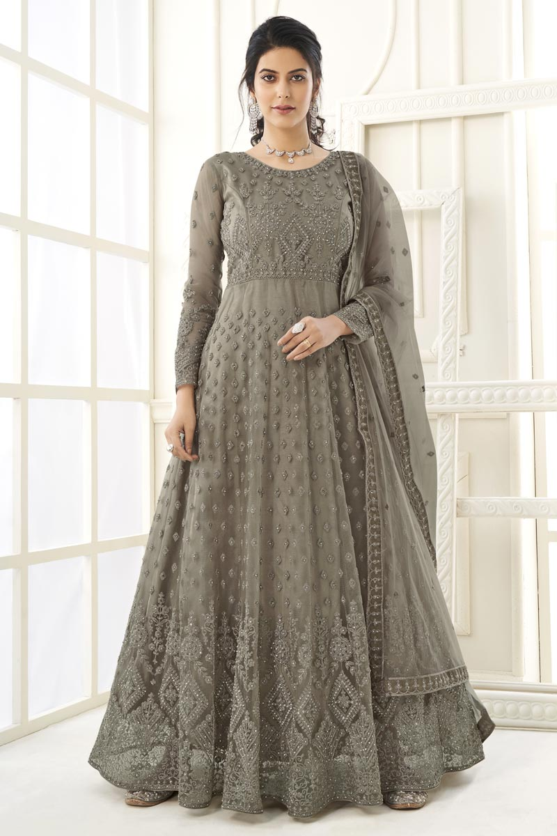 Occasion Wear Dark Beige Color Embroidered Anarkali Salwar Kameez In Georgette Fabric