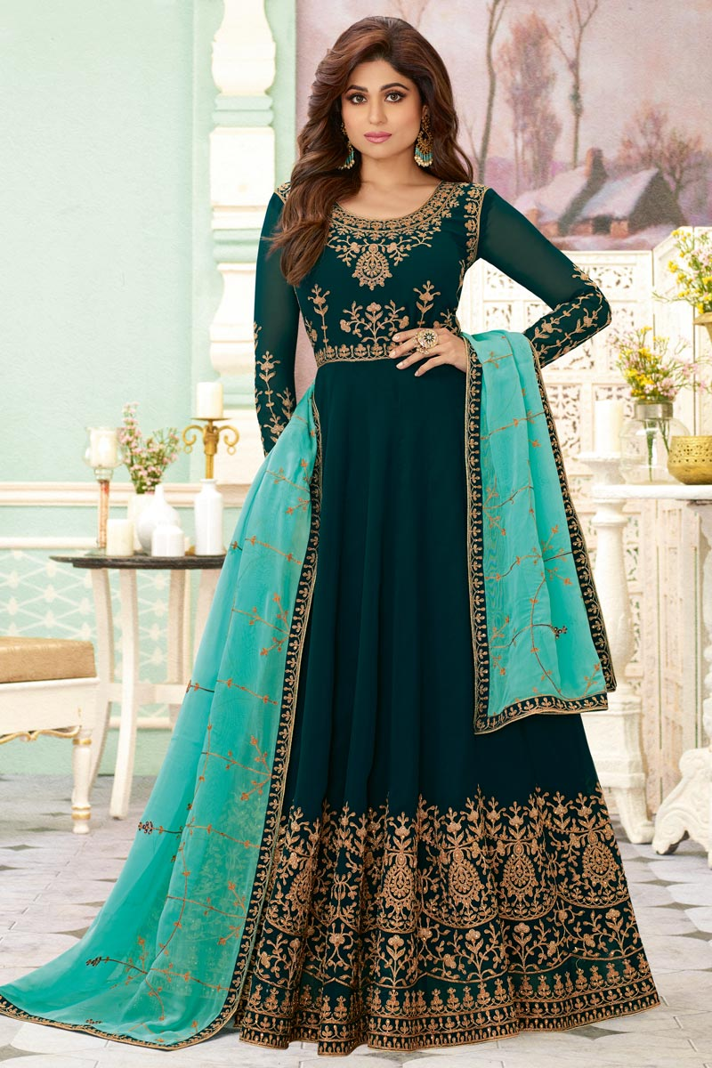 Shamita Shetty Georgette Fabric Party Style Embroidered Teal Color Long Anarkali Suit