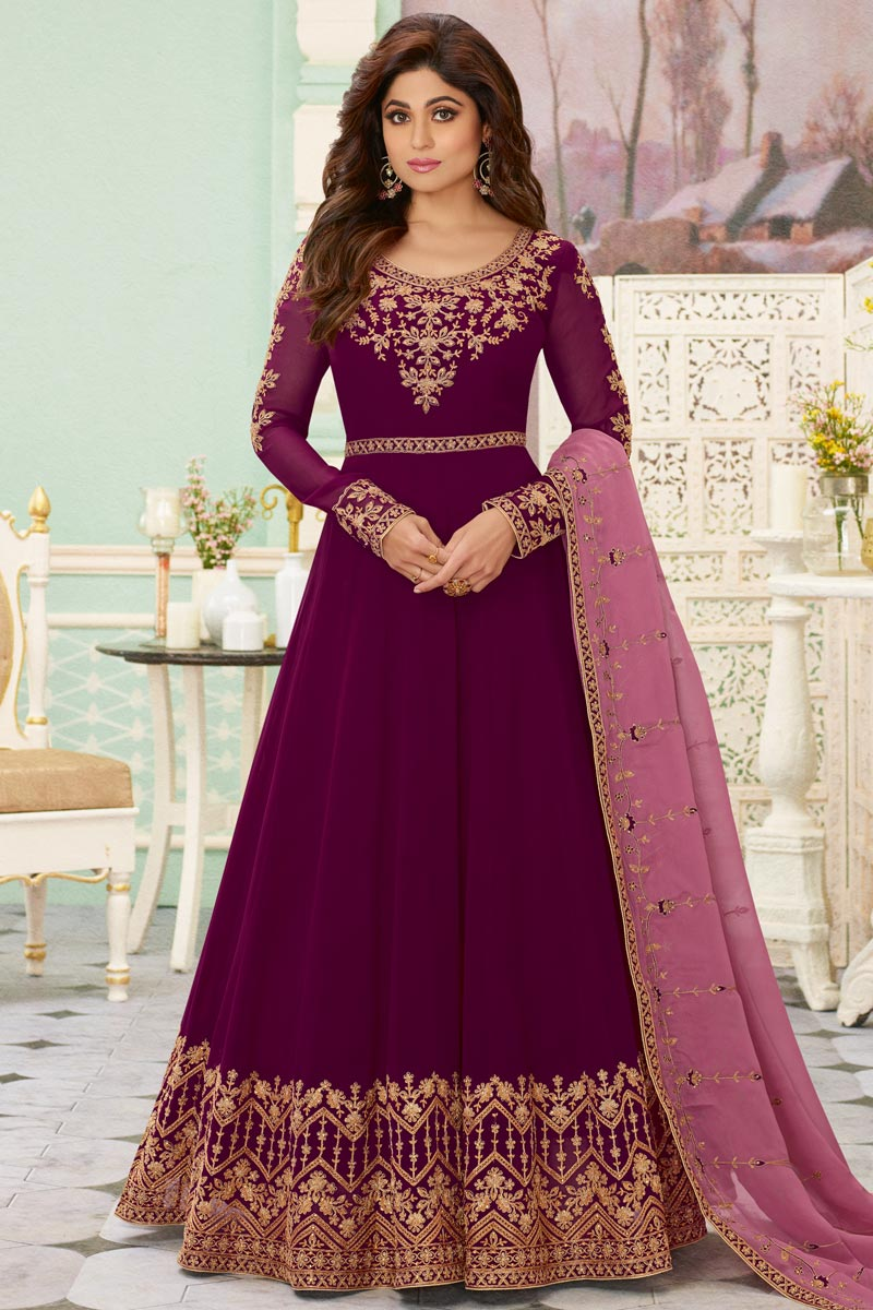 Shamita Shetty Party Style Georgette Fabric Embroidered Anarkali Dress In Burgundy Color