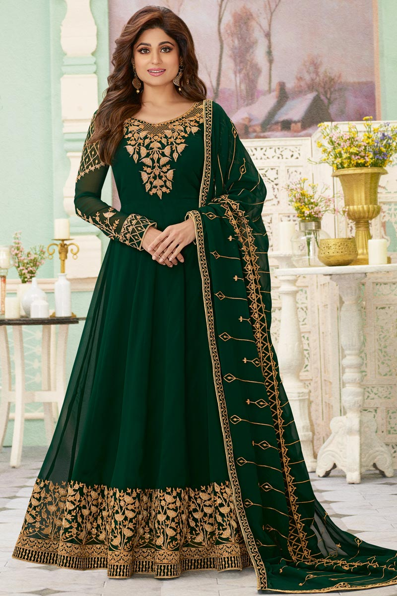 Shamita Shetty Georgette Fabric Dark Green Color Party Style Embroidered Long Anarkali Suit