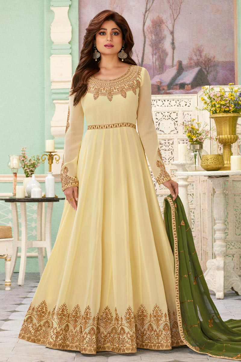 Shamita Shetty Beige Color Party Style Embroidered Anarkali Dress In Georgette Fabric