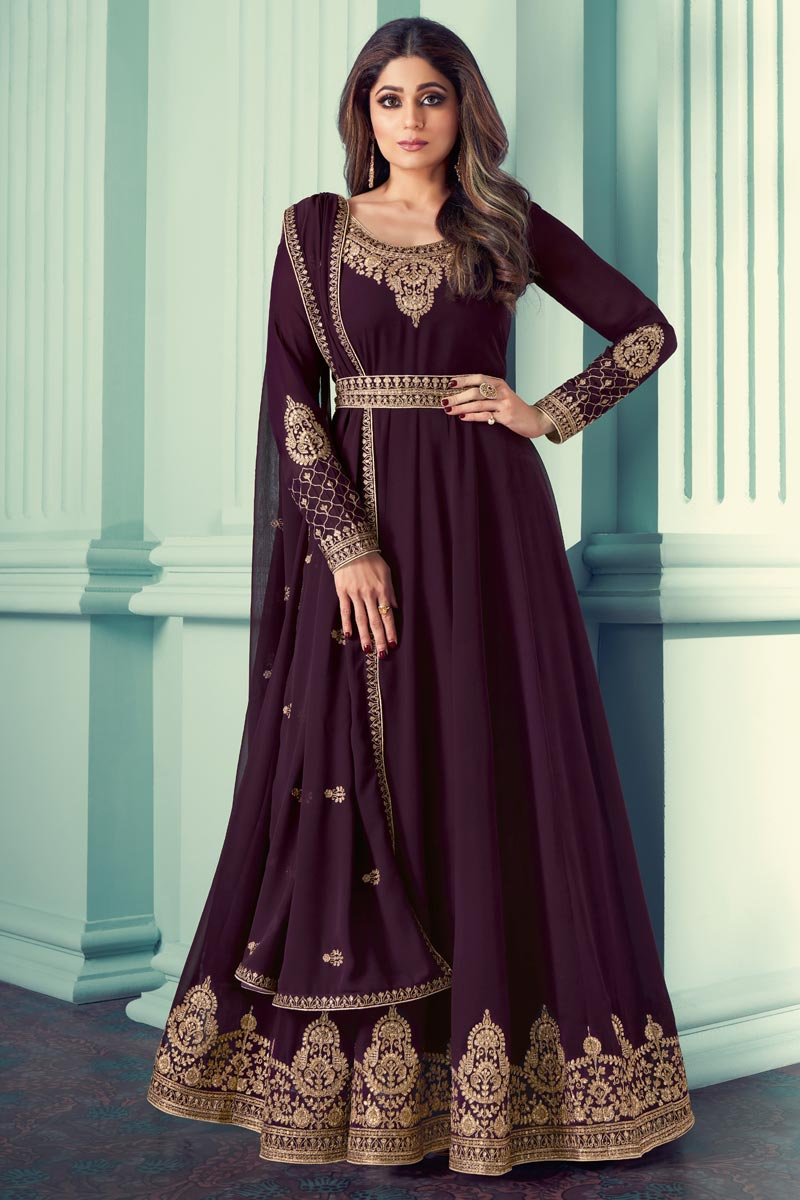 Shamita Shetty Wine Color Function Wear Embroidered Georgette Anarkali Suit