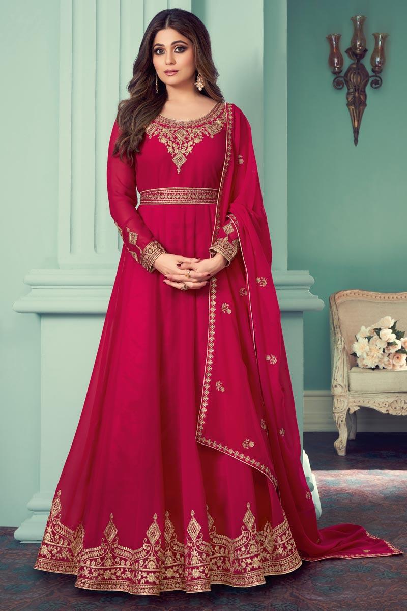 Shamita Shetty Rani Color Function Wear Embroidered Georgette Anarkali Dress