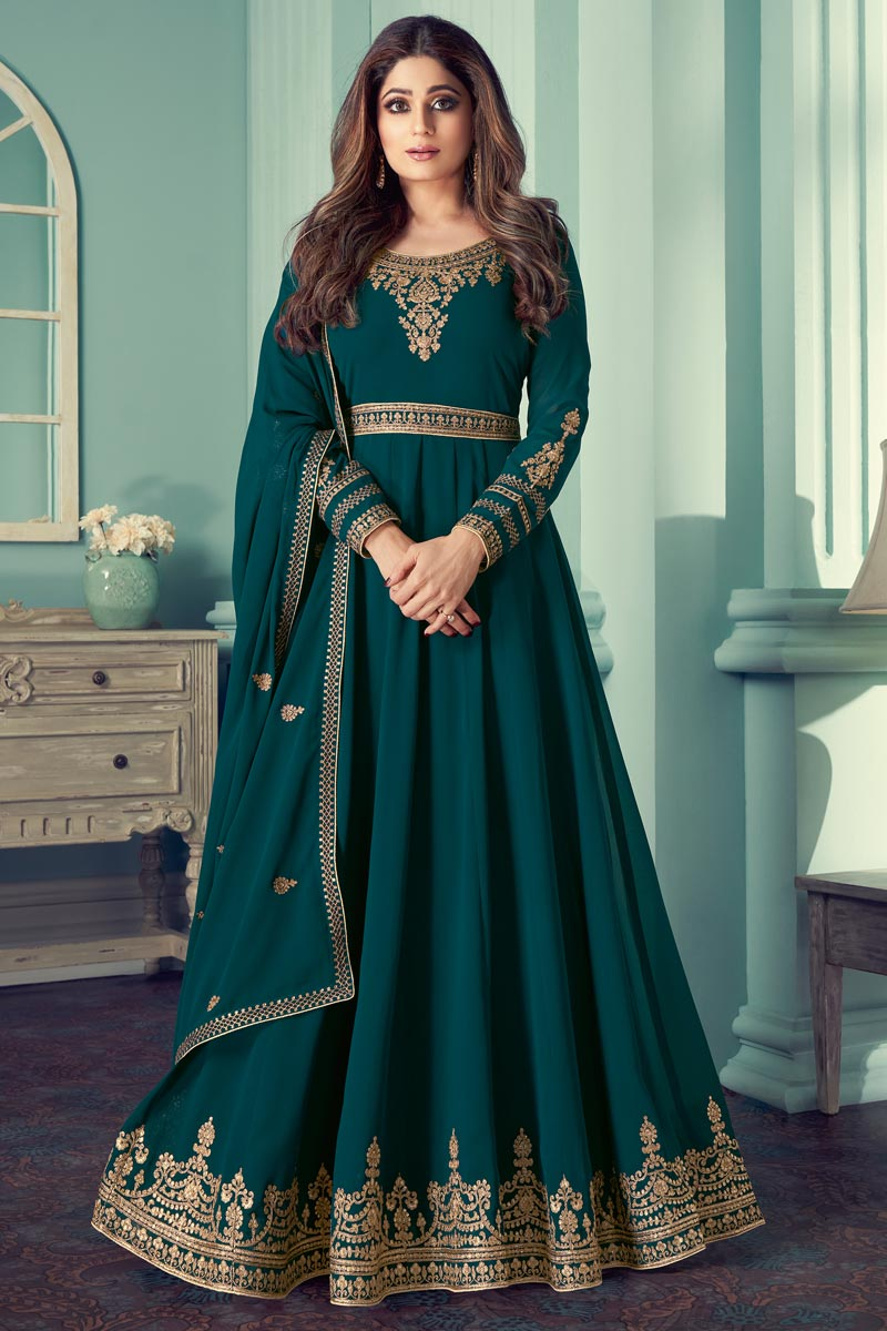 Shamita Shetty Georgette Function Wear Teal Color Embroidered Anarkali Suit