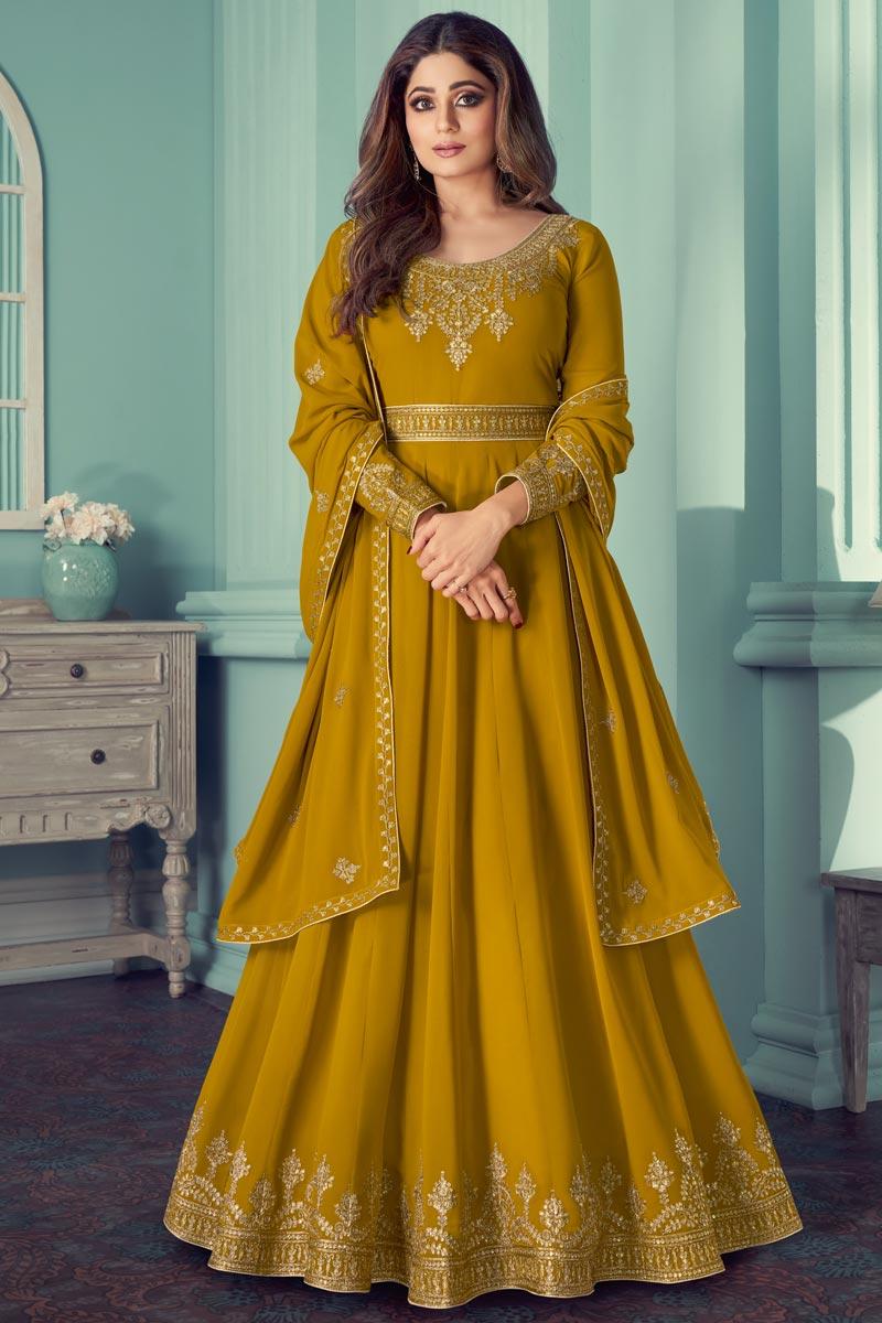 Shamita Shetty Mustard Color Georgette Function Wear Embroidered Anarkali Dress