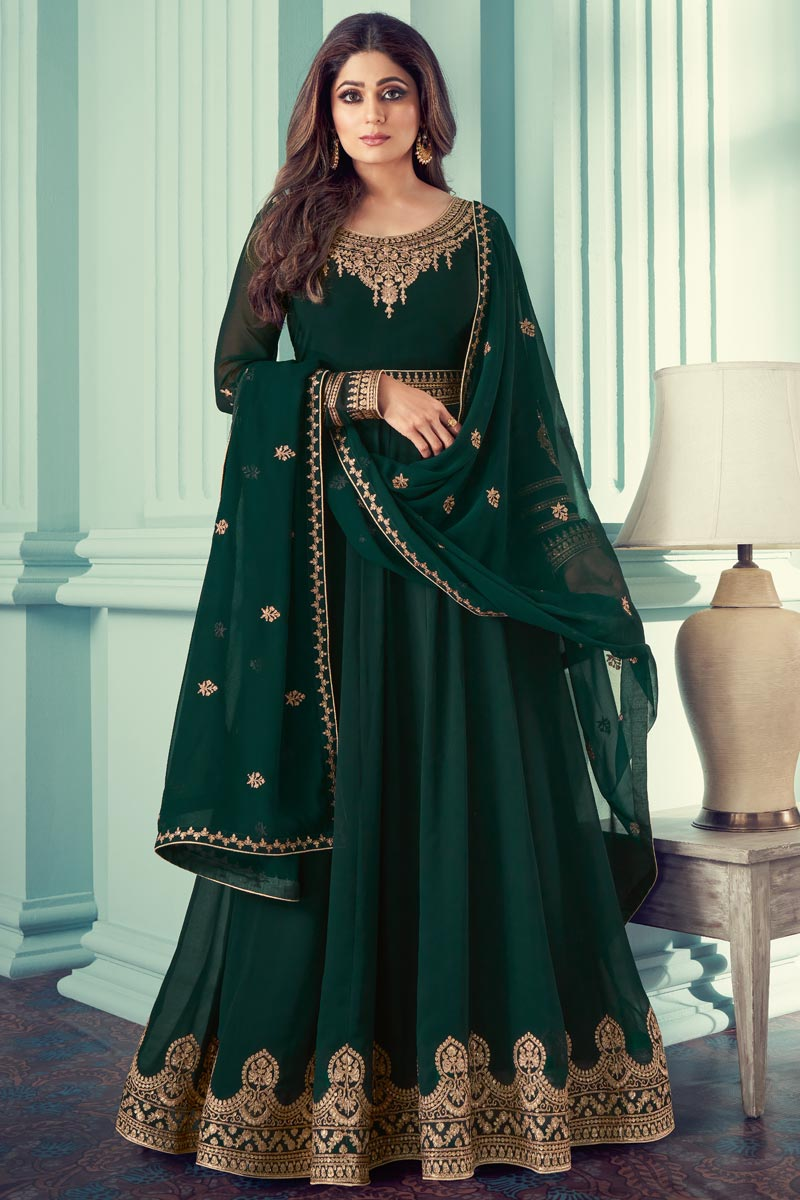 Shamita Shetty Georgette Function Wear Embroidered Anarkali Suit In Dark Green Color