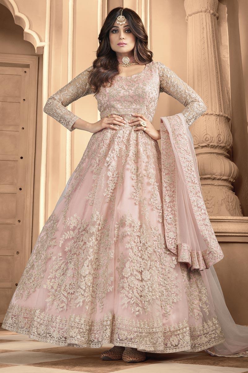 Shamita Shetty Function Wear Embroidered Peach Color Anarkali Dress In Net Fabric
