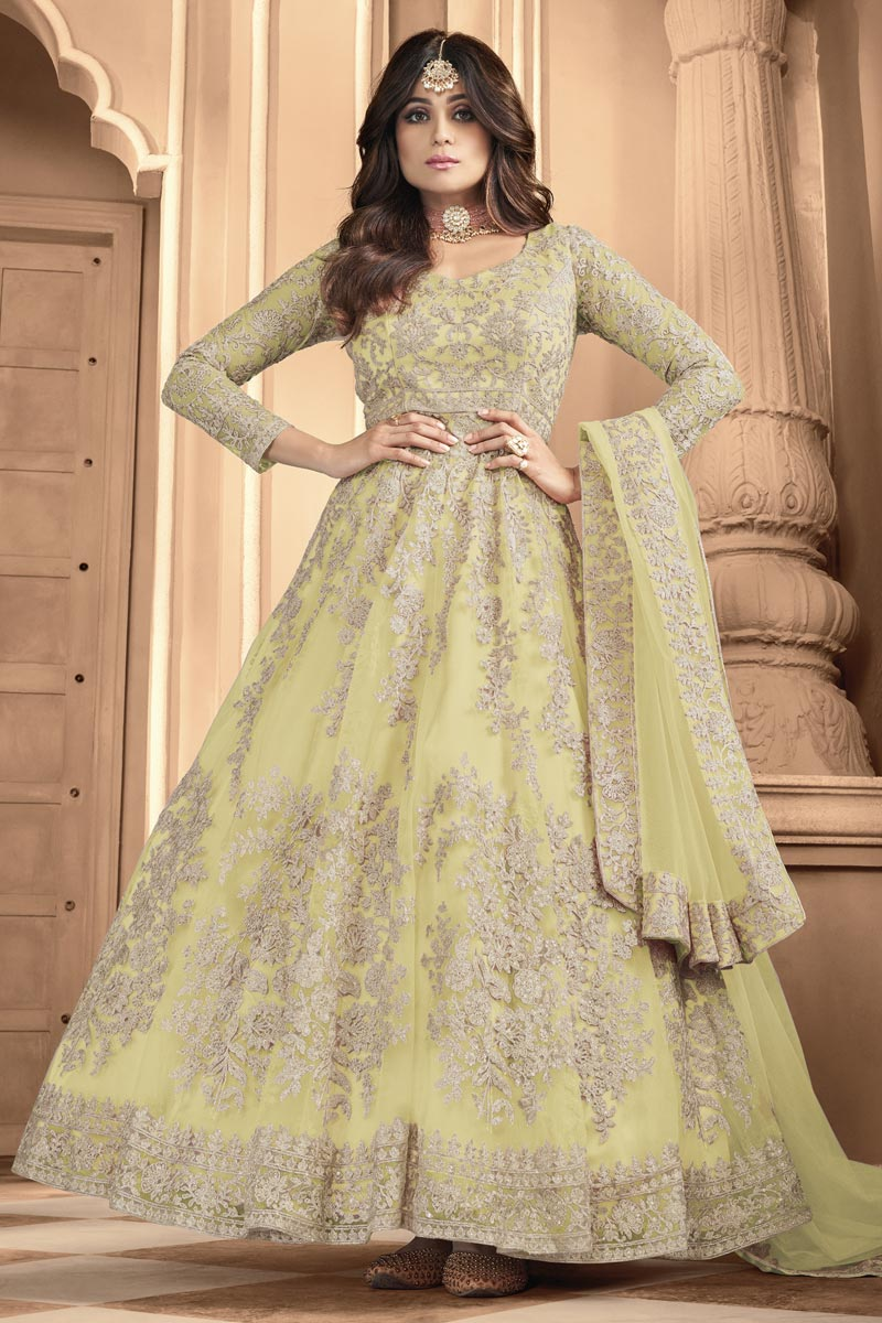 Shamita Shetty Yellow Color Party Wear Embroidered Anarkali Dress In Net Fabric