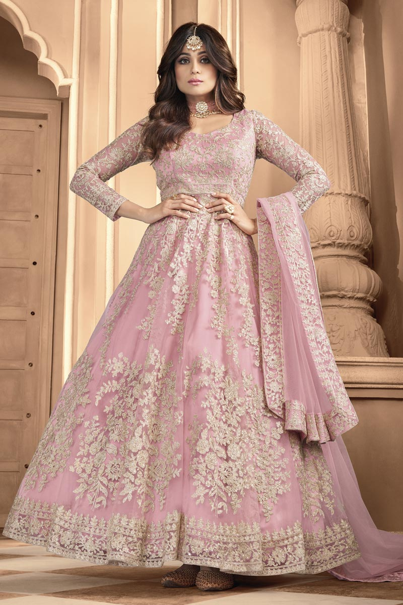 Shamita Shetty Pink Color Net Fabric Embroidered Anarkali Suit