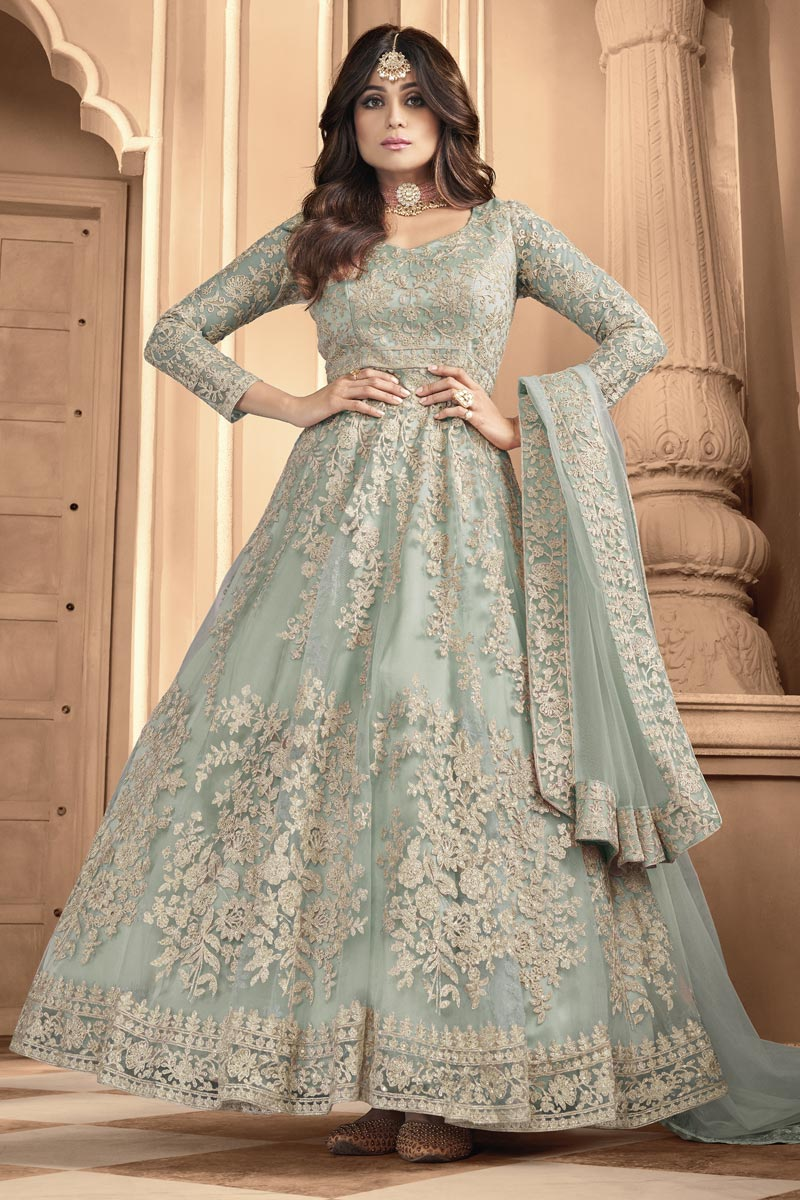 Shamita Shetty Wedding Wear Light Cyan Color Embroidered Anarkali Dress In Net Fabric