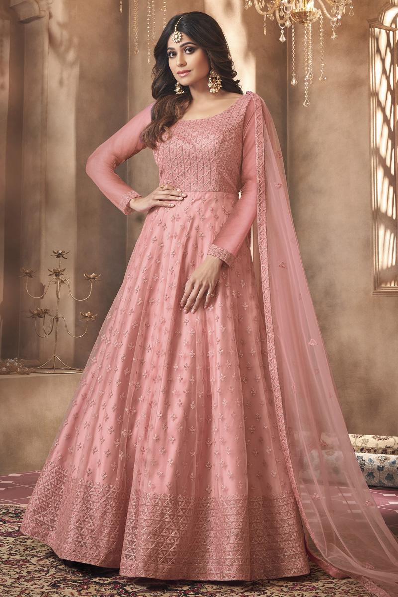 Shamita Shetty Pink Color Net Fabric Party Wear Designer Anarkali Suit